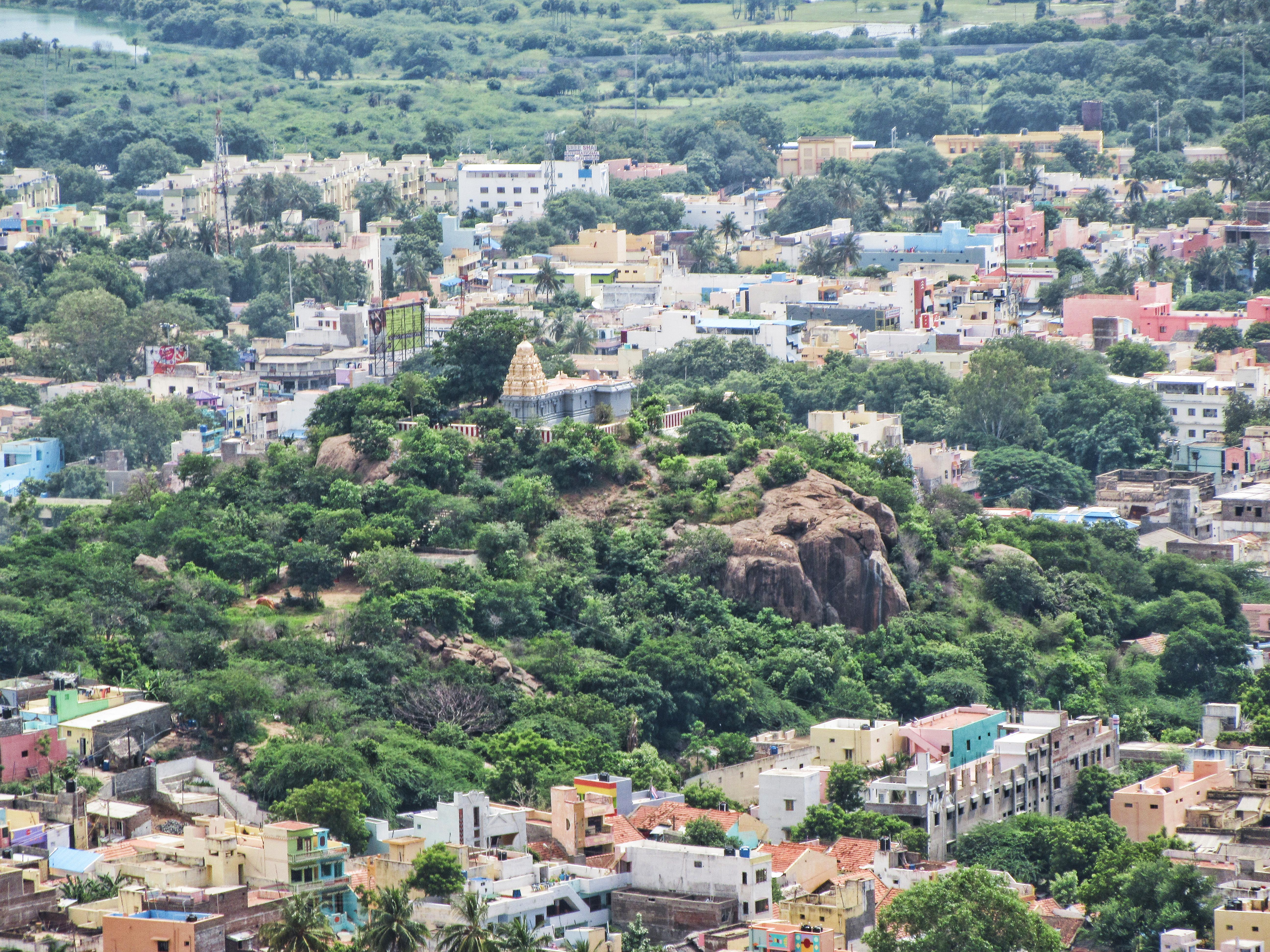 View of Arthanarisvarar Temple from the viewing rock below Skandashram