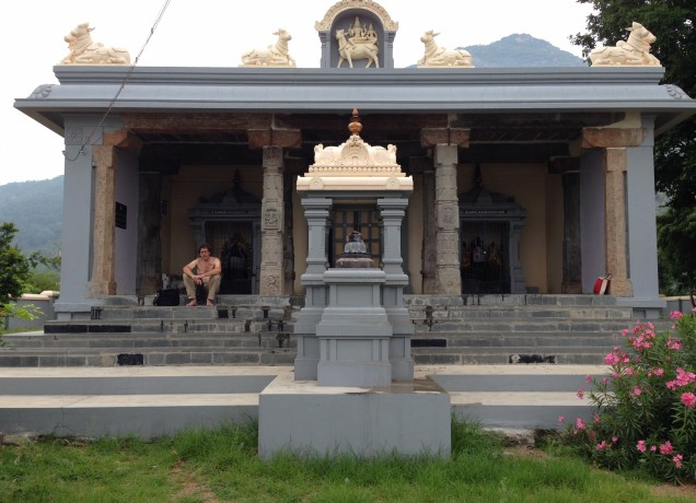 The Arthanarisvarar temple, recently remodeled by the Ramana ashram.
