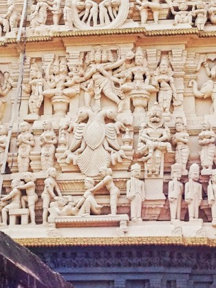 Erotic and martial carvings