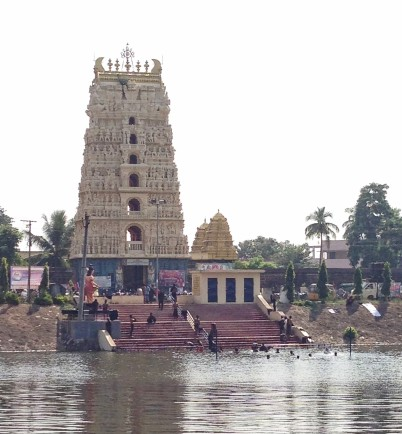 Big gopuram of Sri Bhavananarayana Swamy, viewed from across the tank