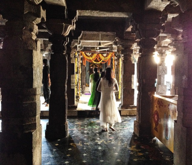 Ladies entering the inner sanctum of Sri Bhavananarayana Swamy temple.