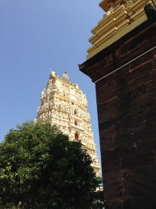 Main gopuram viewed from inside temple walls.