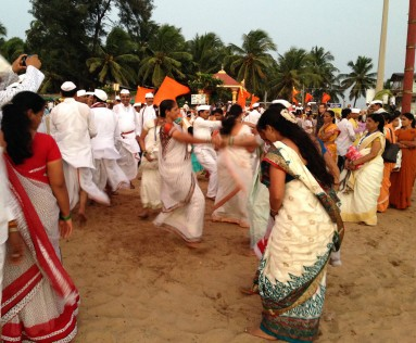 Pilgrims from Maharashtra dancing on Gokarna Beach