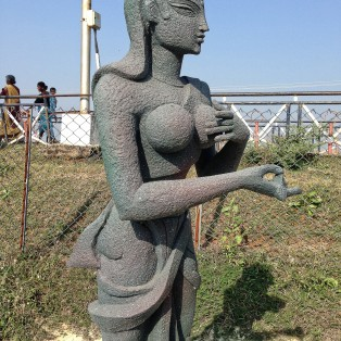 Sculpture on the riverside walk. at Bhadrachalam.
