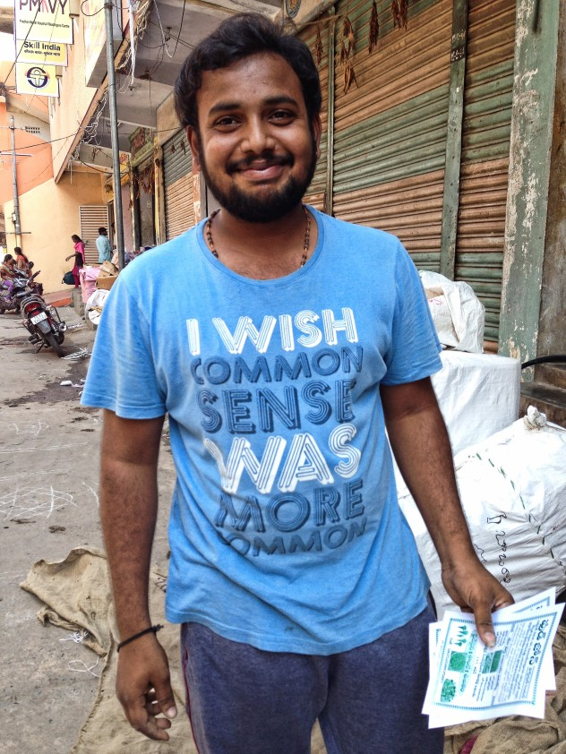 I've seen quite a few fun t-shirts in India. This one was particularly good, and its wearer very obliging.