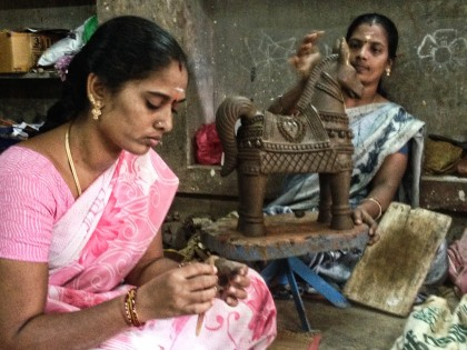 Two of the ladies who work in Munasamy's workshop.