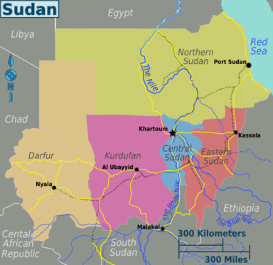Map of Sudan from Wikimedia Commons: https://commons.wikimedia.org/wiki/File%3ASudan_regions_map.png