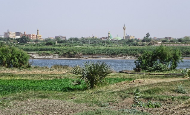 Looking across the Nile River to Bahri, a district of greater Khartoum, from Tutti Island.