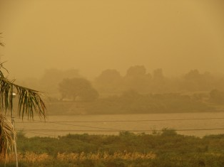 A view of the Nile from our rooftop, during the dust storm.