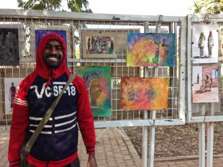 Artist showing his work outside the national museum, Khartoum, Sudan.
