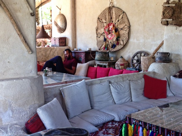 Relaxing in a cafe next to Cleopatra's Bath, Siwa Oasis