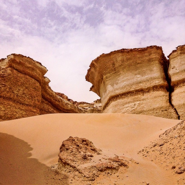 Dramatic shapes in the fossil-rich hills at the north edge of Siwa Oasis