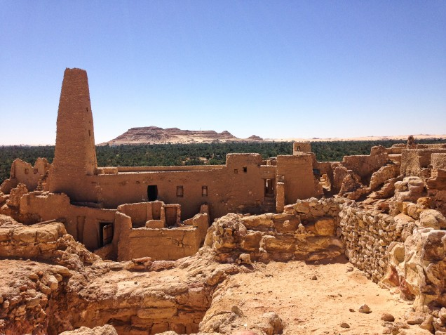 View from oracle temple across Siwa Oasis palms to mountains to south of the temple of the oracle.