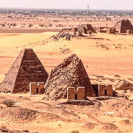 The pyramids at Merowe, Bajarawiyah, Sudan