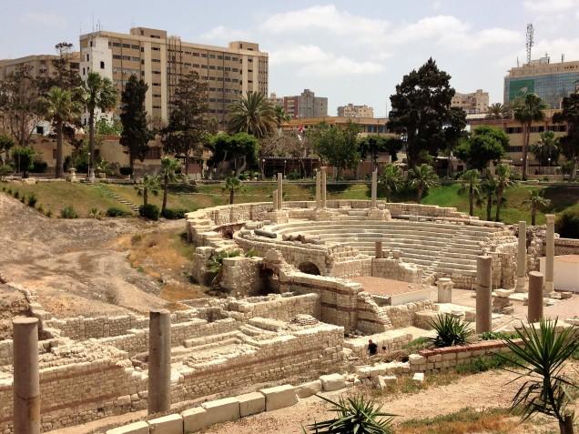 View of the old Roman amphitheater at Kom el Dikka, Alexandria, Egypt