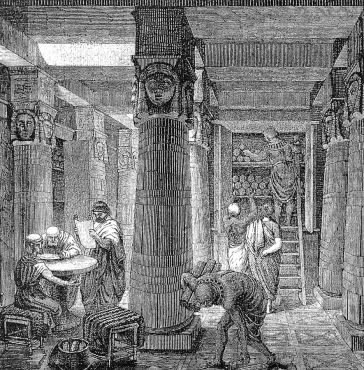 Woodcut illustration of the ancient Great Library of Alexandria