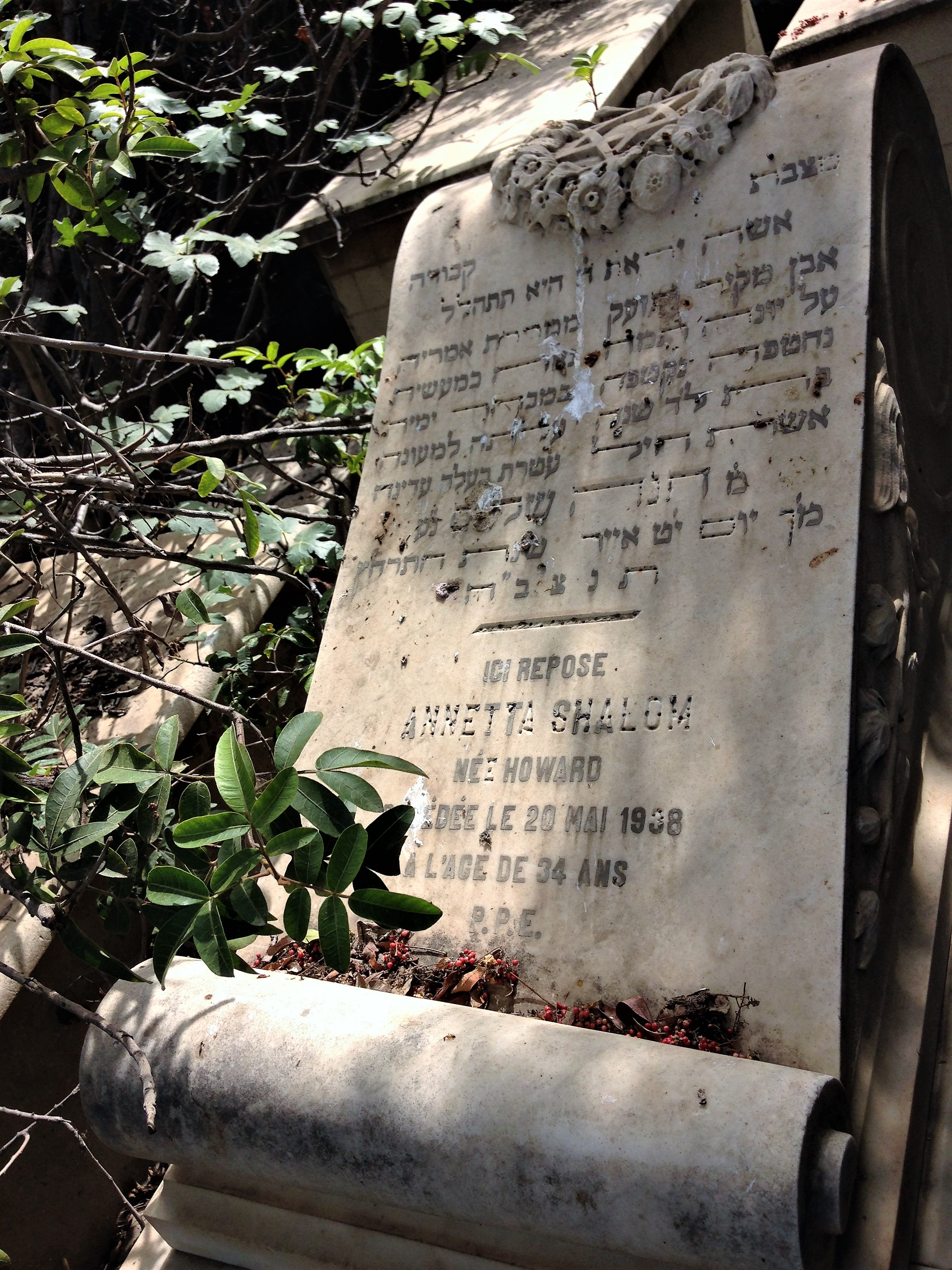 Tombstone of Annetta Shalom in Alexandria's Jewish cemetery.