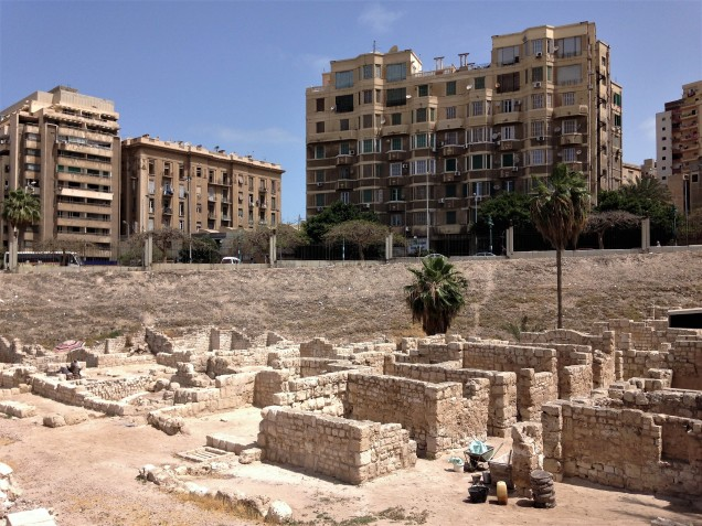 Ancient Alexandria houses in Kom el Dekka and modern apartment buildings above the archaeological site.