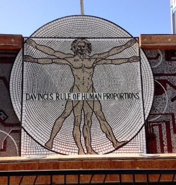 Mosaic of DaVinci's rule of human proportions, near Alexandria Library.