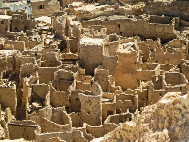Close up of a section of the Shali, Siwa Oasis. Gives an idea of the maze of narrow streets that people walked when the Shali was intact.