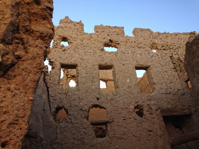 A wall of windows in Shali, Siwa Oasis -- a rare sight, as it's nearly intact but not restored.