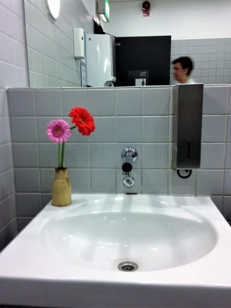 Photo of fresh flowers in a ladies' bathroom at Frankfurt Airport.