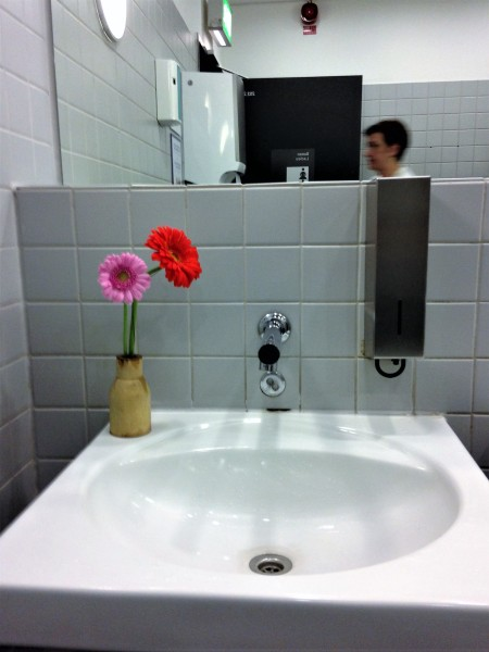 Photo of fresh flowers in a ladies' bathroom at Frankfurt Airport.