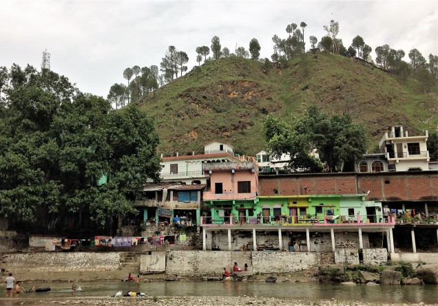 View of Chandika Temple high on a hill above the Saryu River, Bageshwar, Uttarakandh