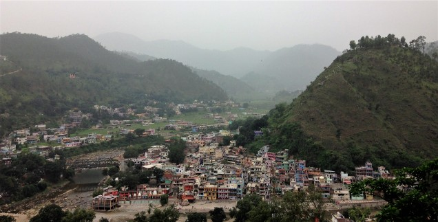 View of the valley that runs north from Bageshwar, with town of Bageshwar in foreground. Uttarakhand.