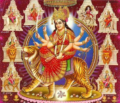 Durga riding a tiger, courtesy of Wikimedia