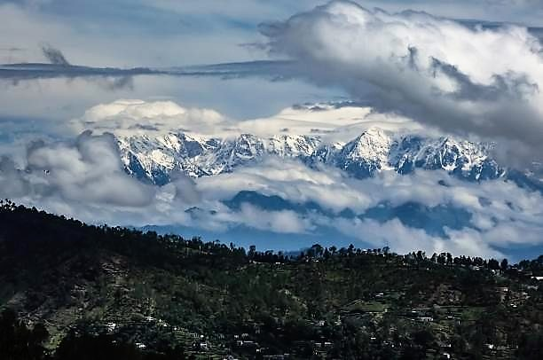 Himalayan mountains, a rare view during monsoon season in Uttarakhand