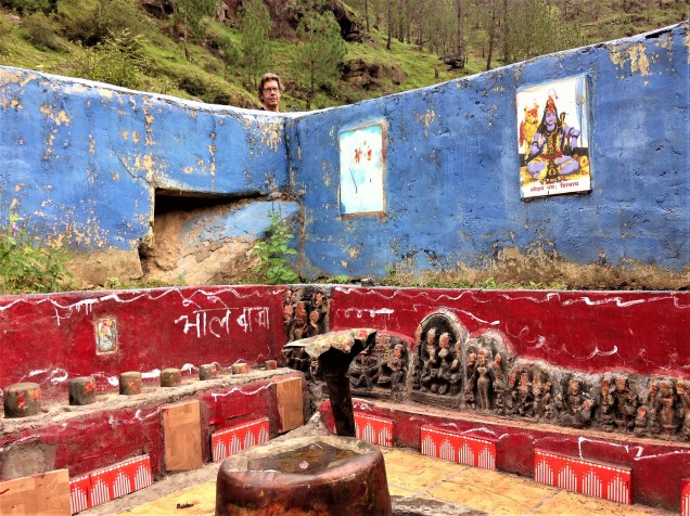 Interior of roofless Shiva temple, Balta valley, Almora, Uttarakhand