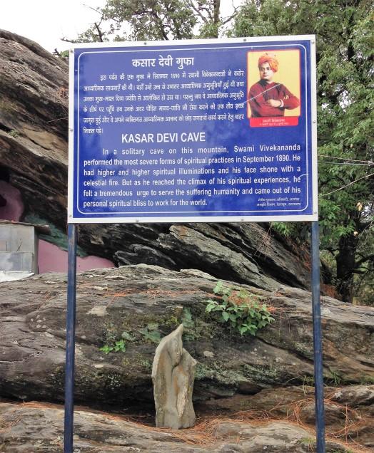 Signboard with story of Vivekananda at Kasar Devi, Almora, Uttarakhand