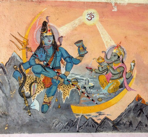 Shiva and his son, Ganesha. Painting found on the side of a shop on Kasar Devi road, Uttarakhand