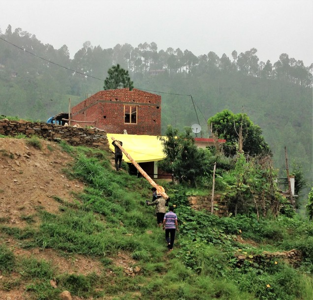 Bringing the lot to the house, Papershali, Almora, Kumaon, Uttarakhand