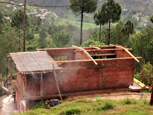 Rebar on flat concrete roof of house in Papershali, Almora, Kumaon, Uttarakhand