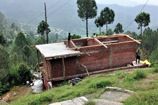 Fresh concrete over the rebar, Papershali, Almora, Kumaon, Uttarakhand