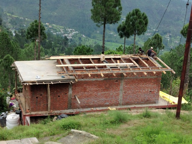 Pitched roof progress, house addition in Papershali, Almora, Kumaon, Uttarakhand
