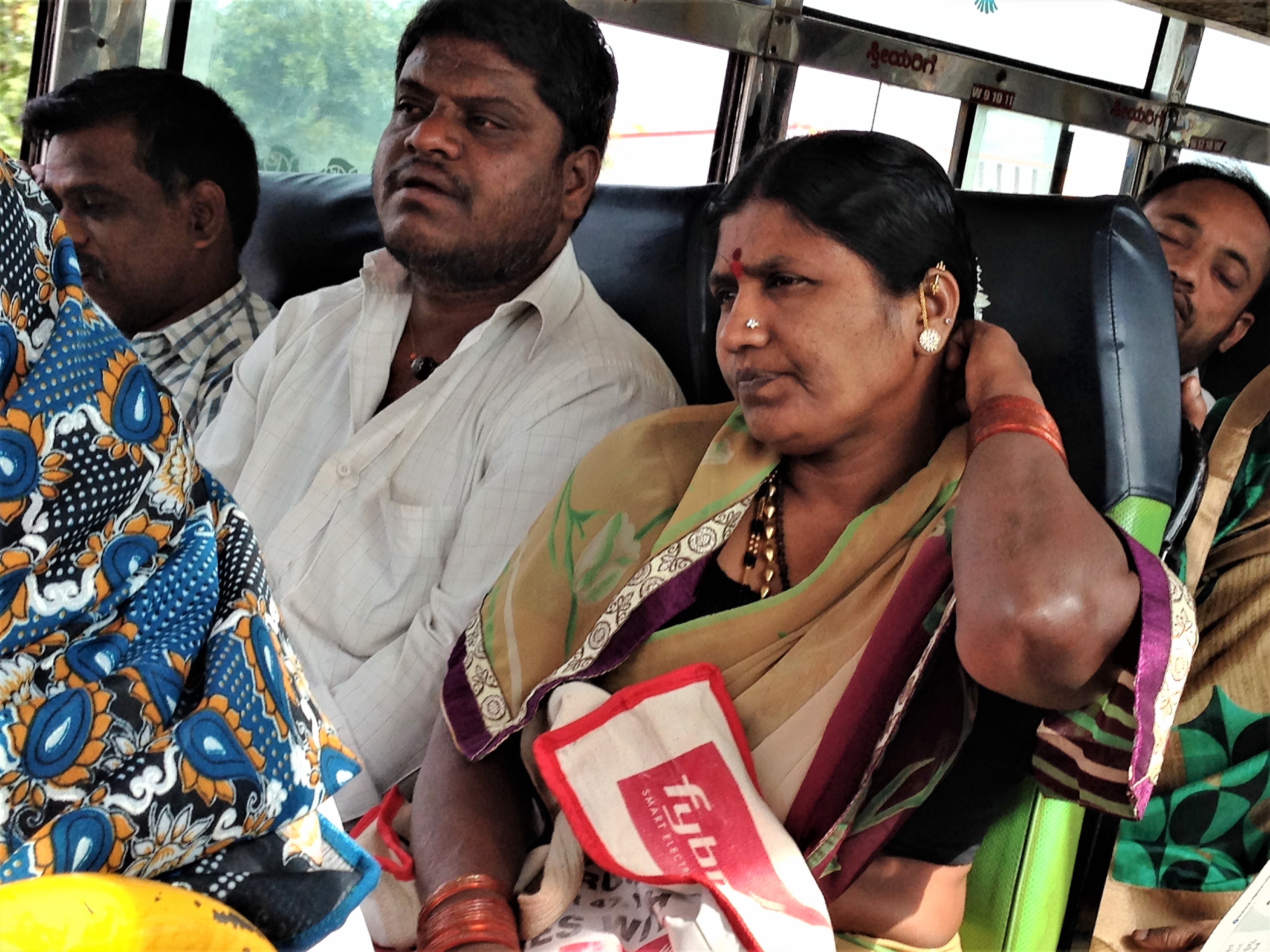Passengers on a bus to Hubli, Karnataka