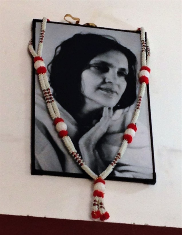 A photo of Ma Anandamayi in the shop across from the ashram, where we had a cold drink.