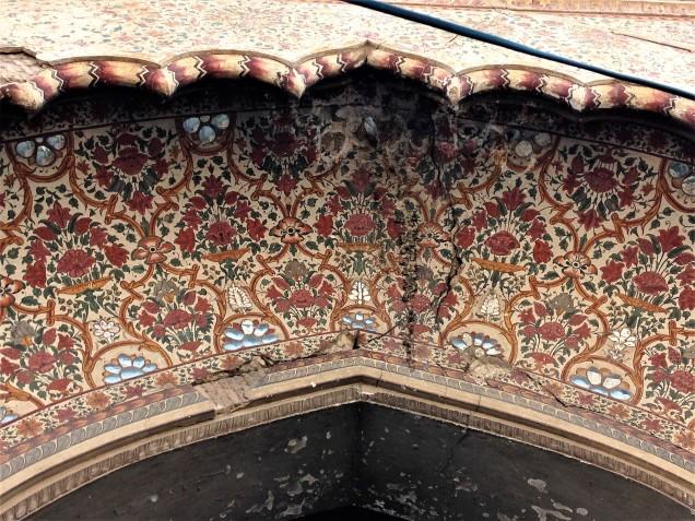 Painted archway of magnificent old mansion on way to Ma Anandamayi Ashram, Kankhal, Haridwar, Uttarakhand