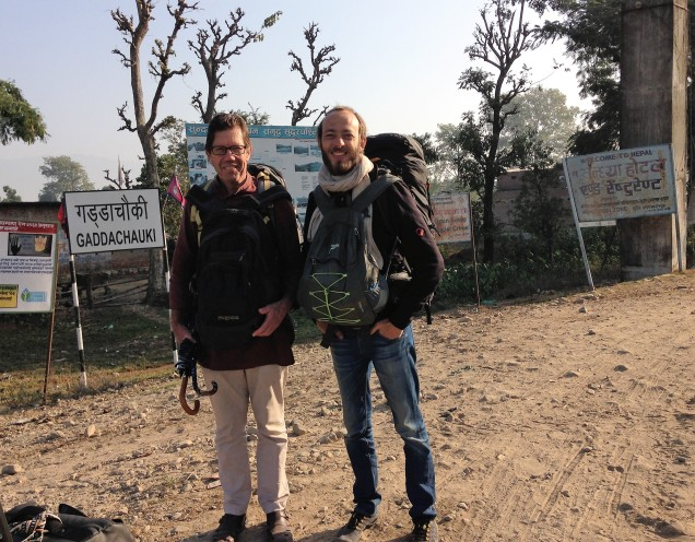 Alan and Chris at the edge of no-man's-land, as we walked from Gadda Chauki in Nepal towards Banbasa in India to complete our visa run.