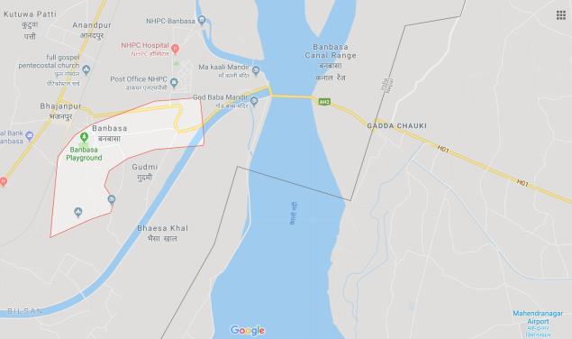 Map showing Banbasa and Gadda Chauki - the India to Nepal visa run.