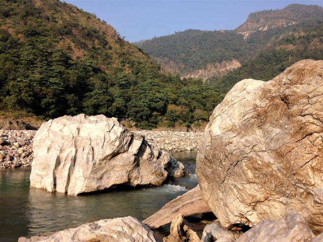Boulders in the Ganga River, Rishikesh, Uttarakhand