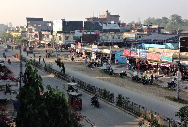 Main road in Mahendranagar, Nepal, from the window of our hotel room.