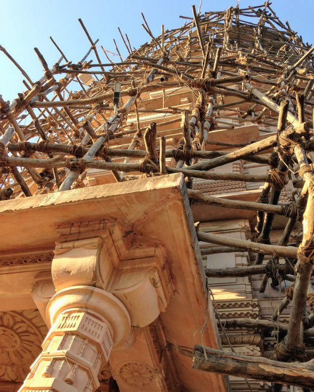 Corner of Jain temple with scaffolding. Amarkantak, Madhya Pradesh