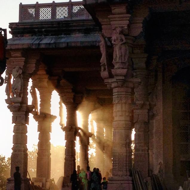 Stone dust and sunset at the Jain temple, Amarkantak, Madhya Pradesh