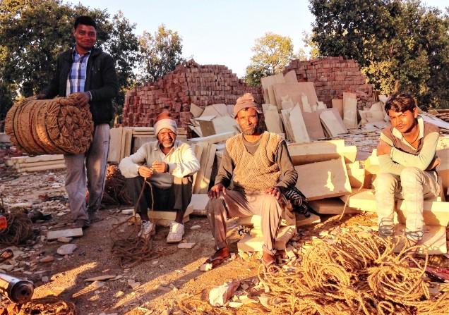 Four workmen at the Jain temple, Amarkantak, Madhya Pradesh