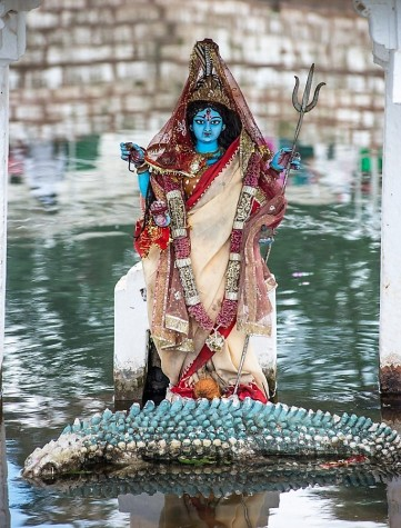 Photo of the Goddess Narmada at the Narmada Udgam temple in Amarkantak. By Saurabh Chatterjee, from his blog post: http://siaphotography.in/blog/amarkantak-the-source-of-river-narmada/