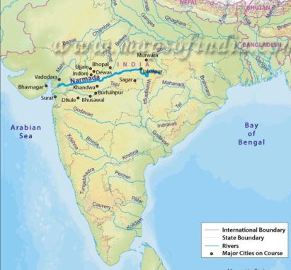 Map of Narmada river course. Source: https://www.mapsofindia.com/maps/rivers/narmada.html